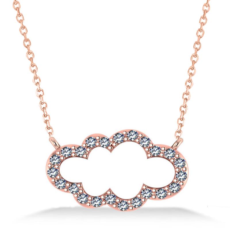 Cloud Outline Diamond Pendant Necklace 14k Rose Gold (0.23ct)