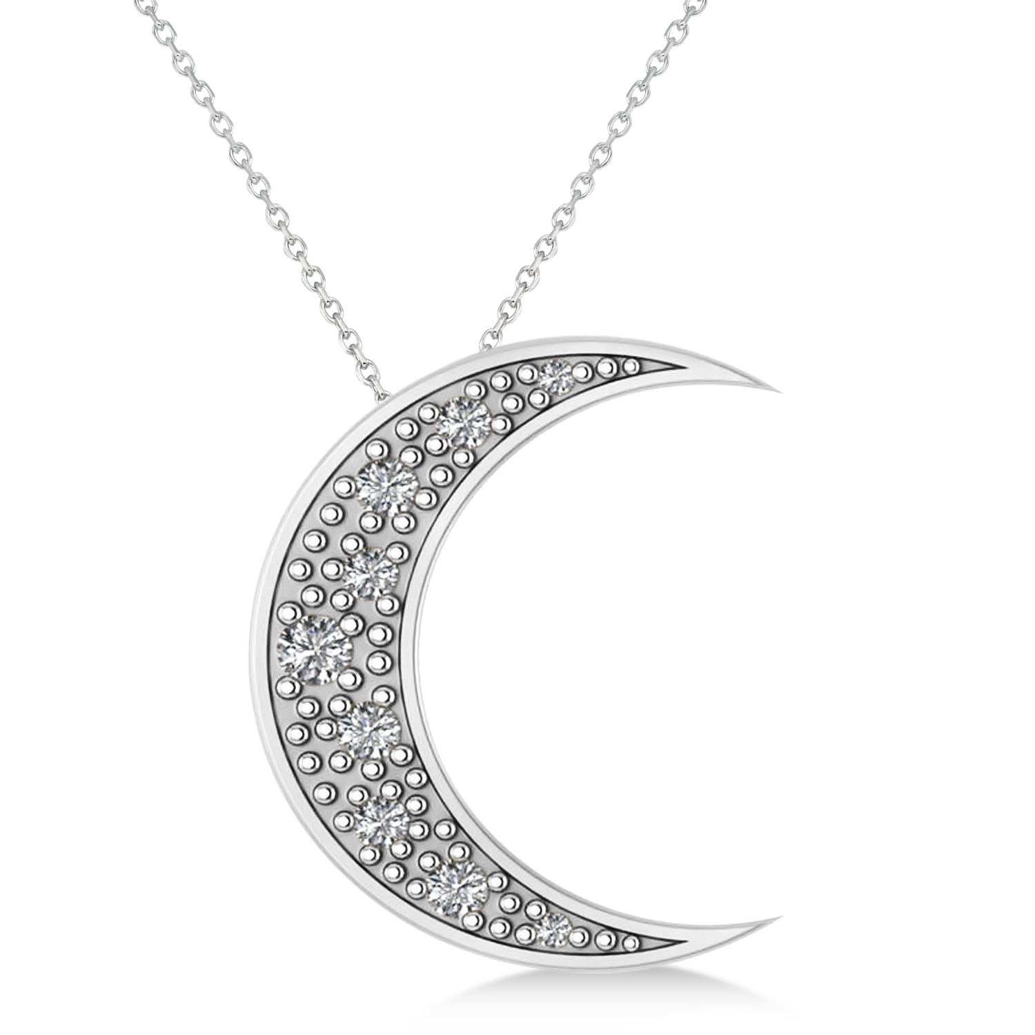 Diamond Crescent Moon Pendant Necklace 14K White Gold (0.15ct)