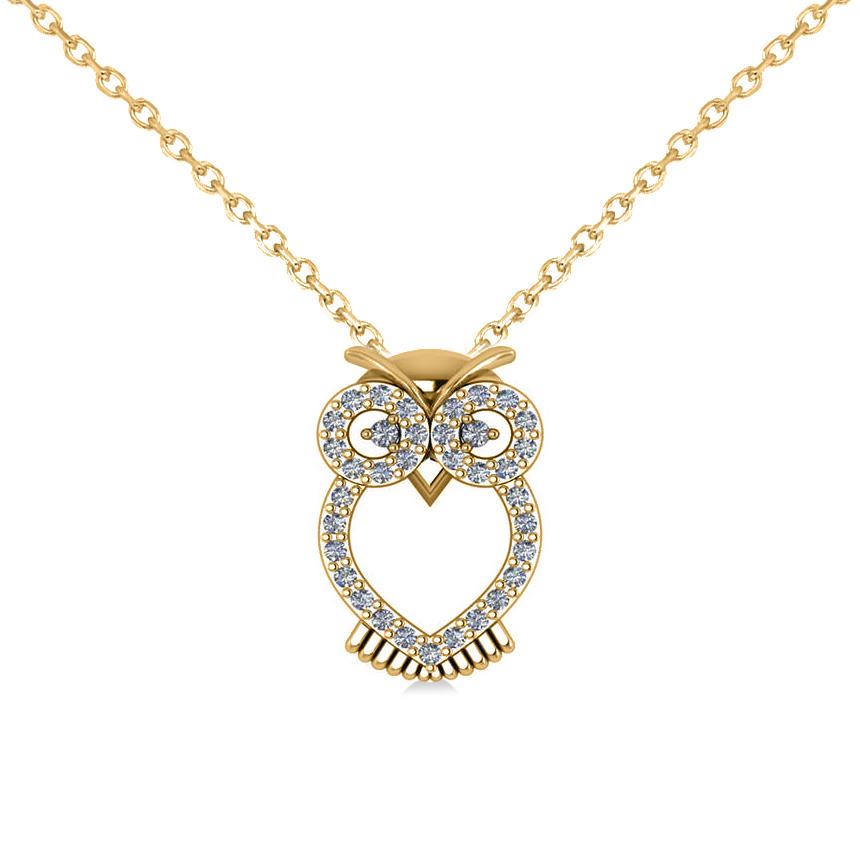 Owl Diamond Pendant Necklace 14k Yellow Gold (0.09ct)