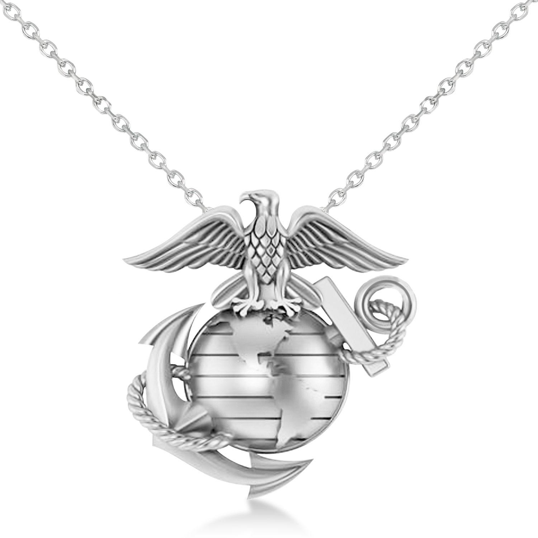 United States Marine Corps Badge Men's Pendant 14k White Gold