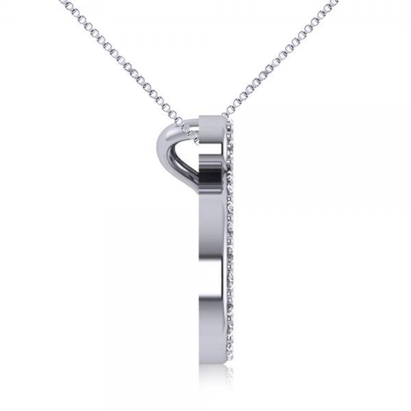 Diamond Nautical Whale Pendant Necklace in 14k White Gold (0.20ct)