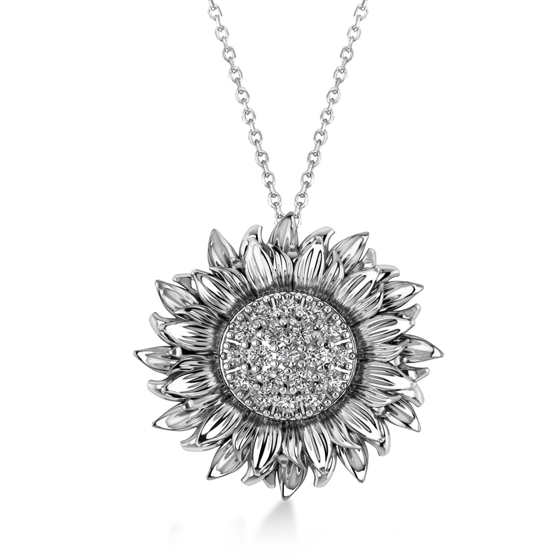 Large Sunflower Diamond Pendant Necklace 14k White Gold (0.38ct)