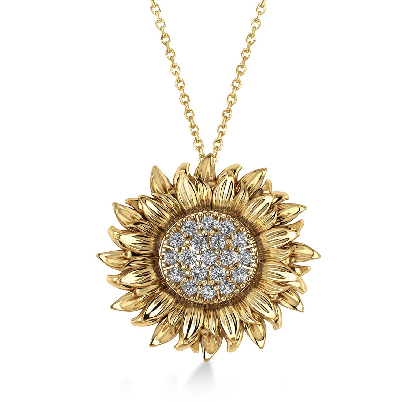 Large Sunflower Diamond Pendant Necklace 14k Yellow Gold (0.38ct)