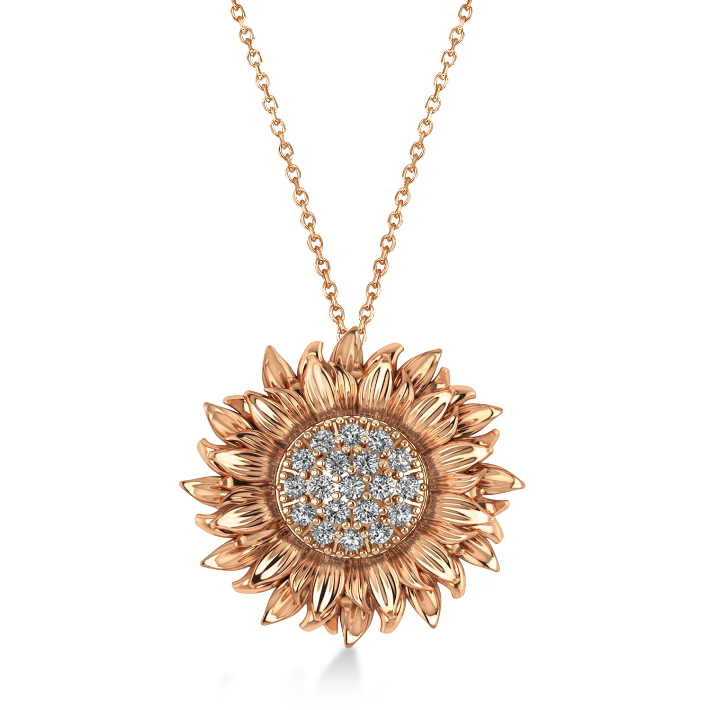Large Sunflower Diamond Pendant Necklace 18k Rose Gold (0.38ct)