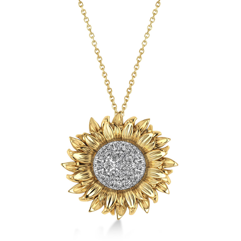 Large Sunflower Diamond Pendant Necklace 18k Two-Tone Gold (0.38ct)