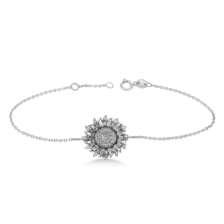 Large Sunflower Diamond Bracelet 14k White Gold (0.38ct)