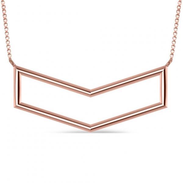 V-Shaped Chevron Bar Pendant Necklace Plain Metal 14k Rose Gold