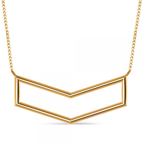 V-Shaped Chevron Bar Pendant Necklace Plain Metal 14k Yellow Gold