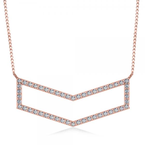 Diamond V-Shaped Chevron Bar Pendant Necklace 14k Rose Gold (0.50ct)