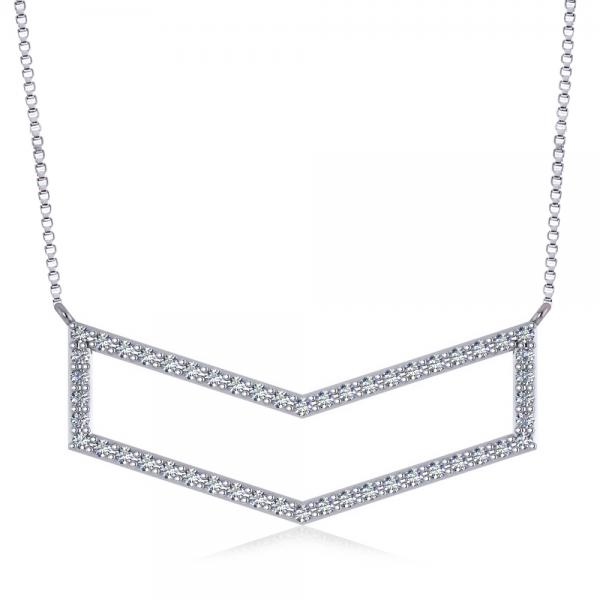 Diamond V-Shaped Chevron Bar Pendant Necklace 14k White Gold (0.50ct)