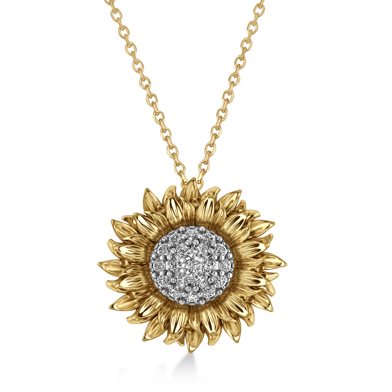 Sunflower Diamond Pendant Necklace 14k Two-Tone Gold (0.19ct)