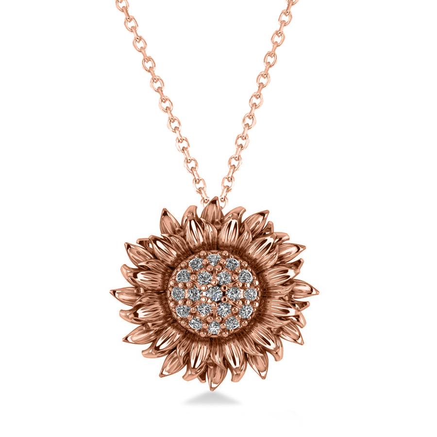 Sunflower Diamond Pendant Necklace 18k Rose Gold (0.19ct)