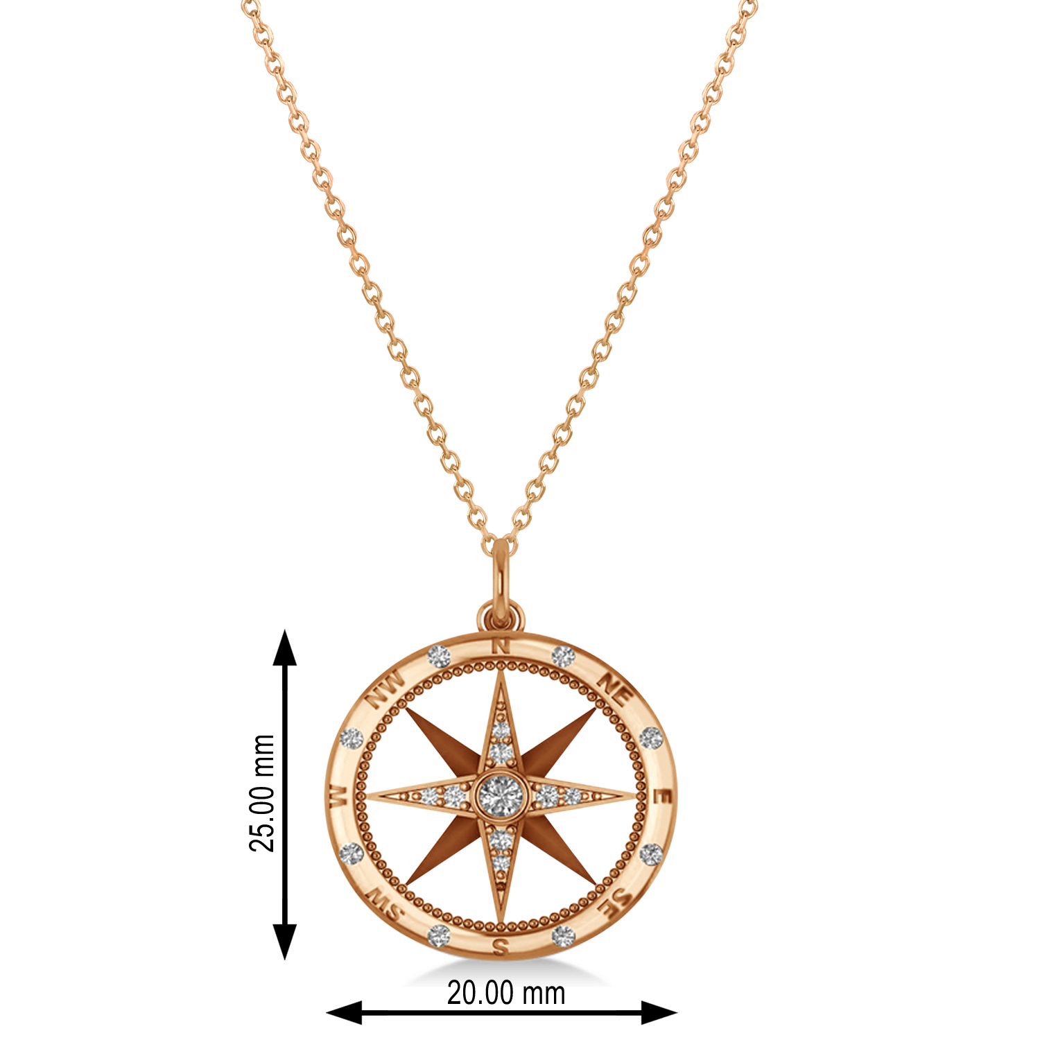 Compass Necklace Pendant Diamond Accented 14kRose Gold (0.19ct)