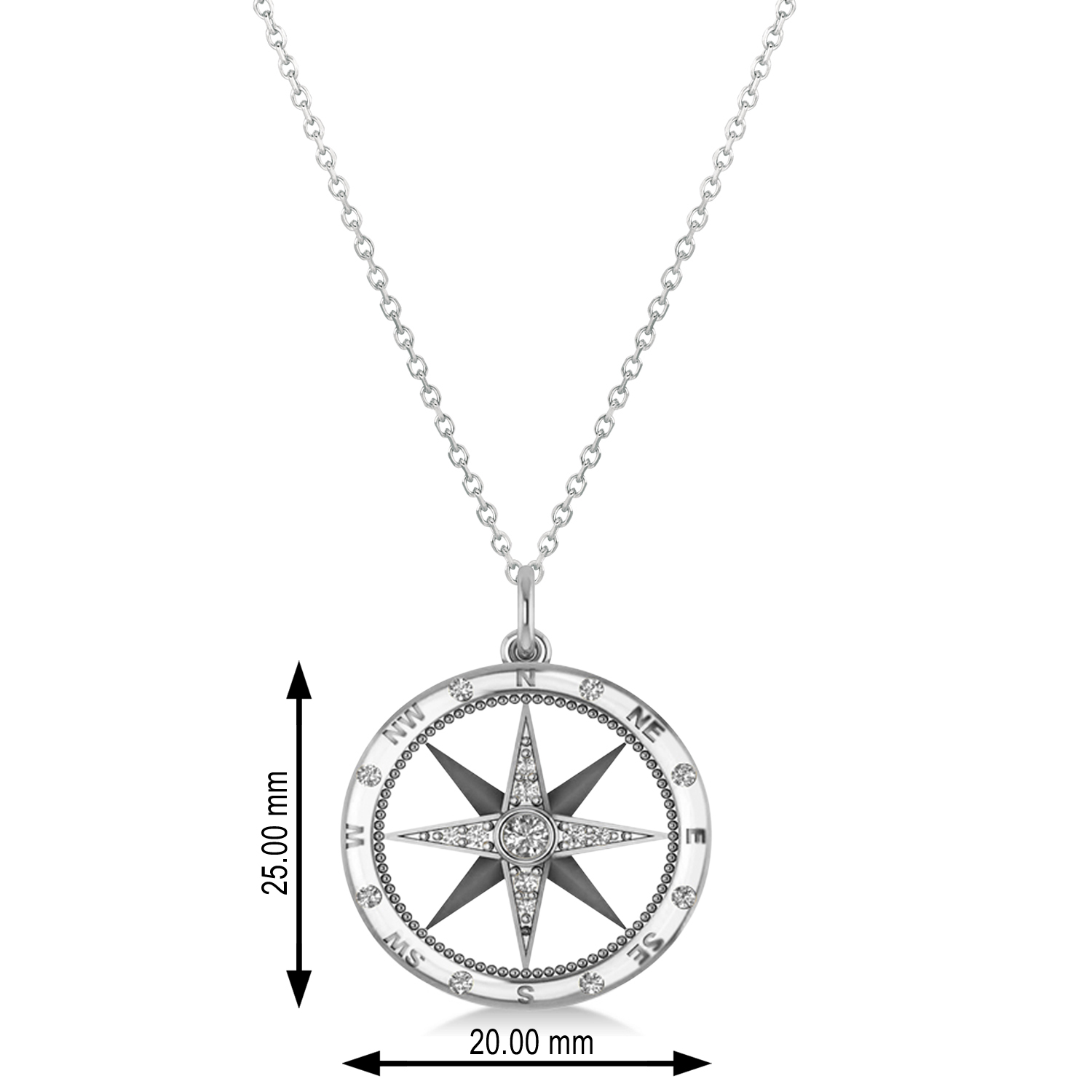 Compass Necklace Pendant Diamond Accented 14k White Gold 019ct