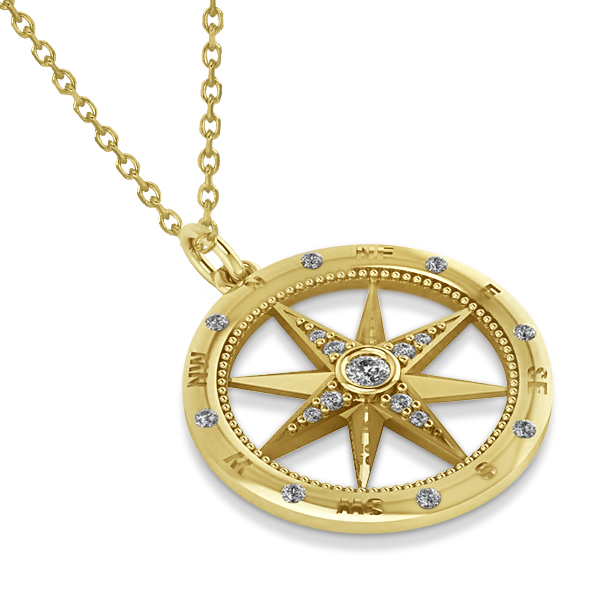 Compass Necklace Pendant Diamond Accented 14k Yellow Gold 019ct