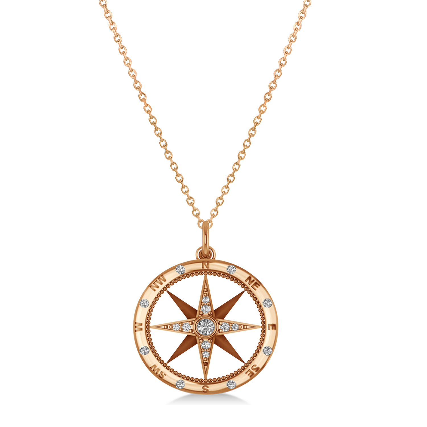 Compass Necklace Pendant Diamond Accented 18k Rose Gold 0