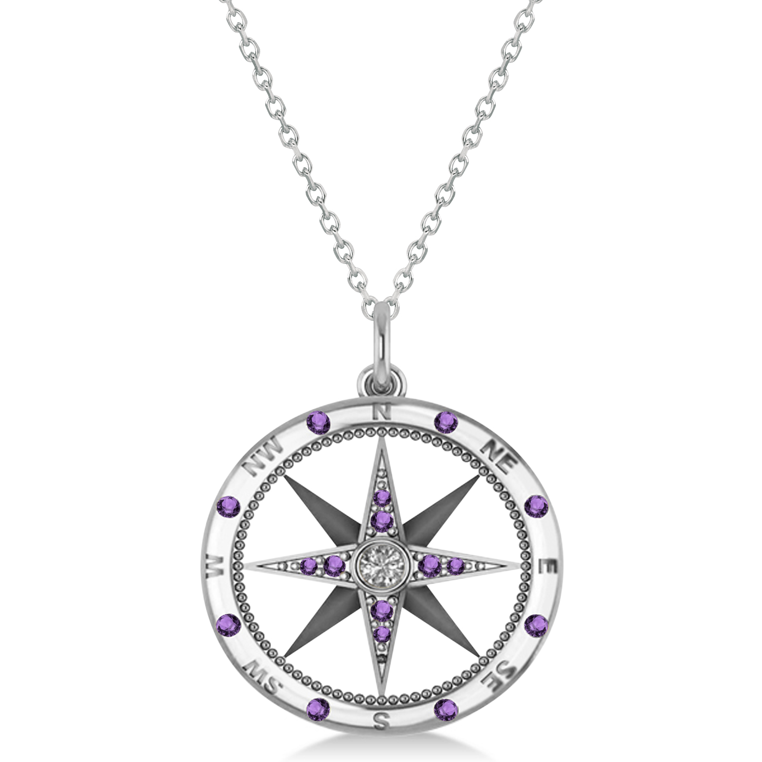 Compass Pendant Amethyst & Diamond Accented 14k White Gold (0.19ct)