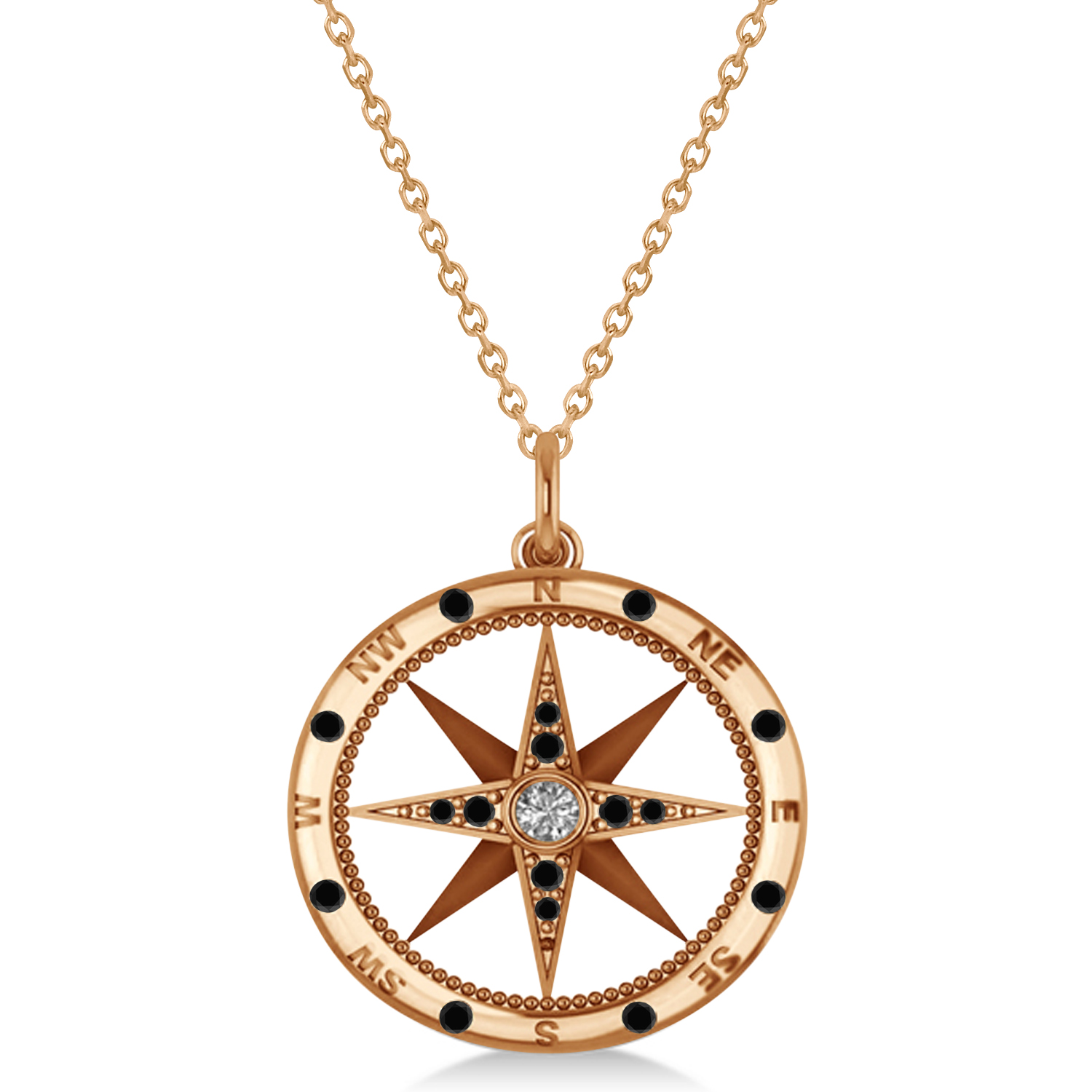 Compass Pendant Black & White Diamond Accented 14k Rose Gold (0.19ct)