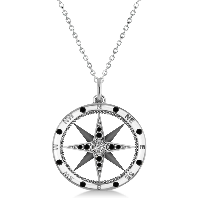 Compass Pendant Black & White Diamond Accented 14k White Gold (0.19ct)