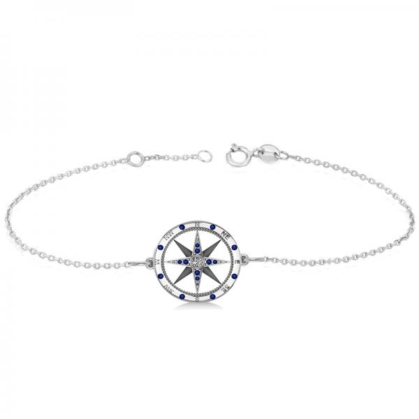Blue Sapphire & Diamond Nautical Compass Bracelet 14k White Gold (0.19ct)