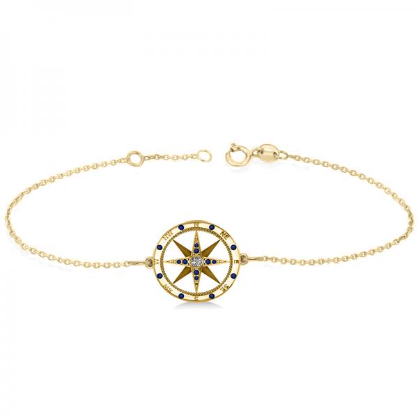 Blue Sapphire & Diamond Nautical Compass Bracelet 14k Yellow Gold (0.19ct)