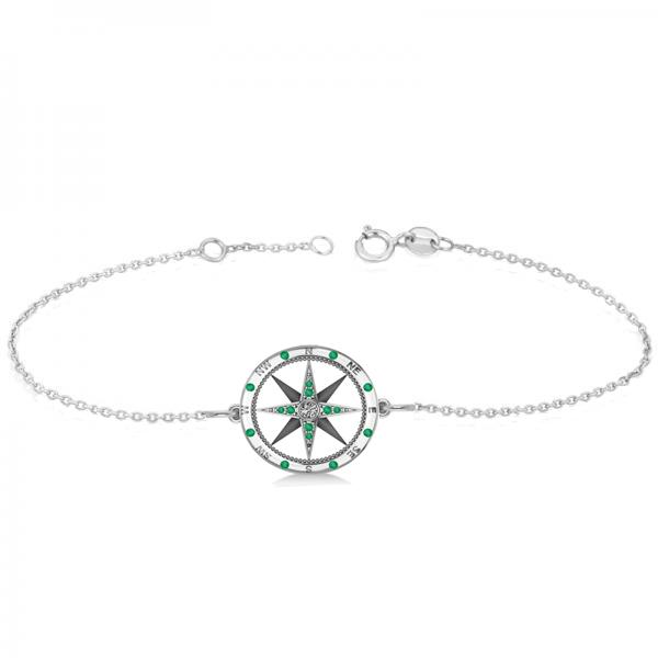Emerald & Diamond Nautical Compass Bracelet 14k White Gold (0.19ct)
