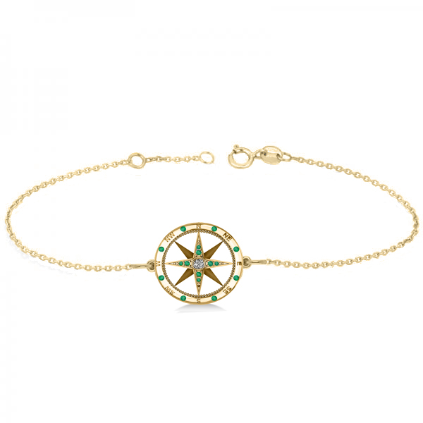 Emerald & Diamond Nautical Compass Bracelet 14k Yellow Gold (0.19ct)