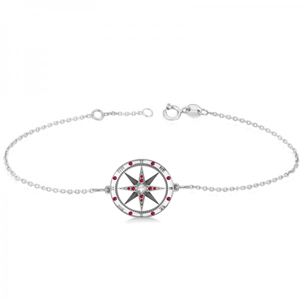 Ruby & Diamond Nautical Compass Bracelet 14k White Gold (0.19ct)