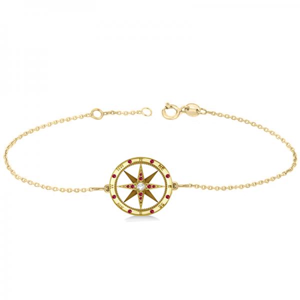 Ruby & Diamond Nautical Compass Bracelet 14k Yellow Gold (0.19ct)