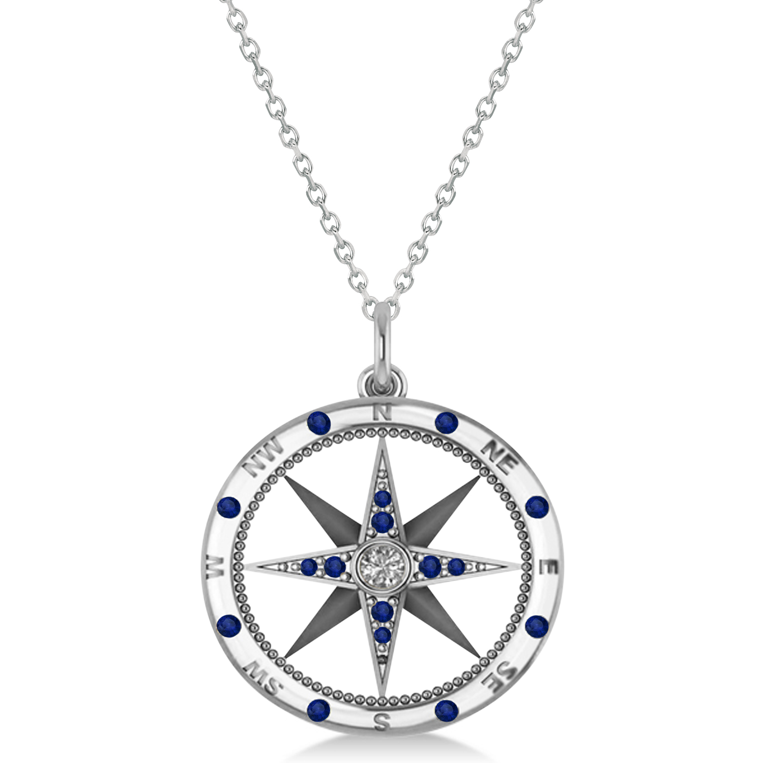 compass pendant blue sapphire diamond accented 14k white. Black Bedroom Furniture Sets. Home Design Ideas