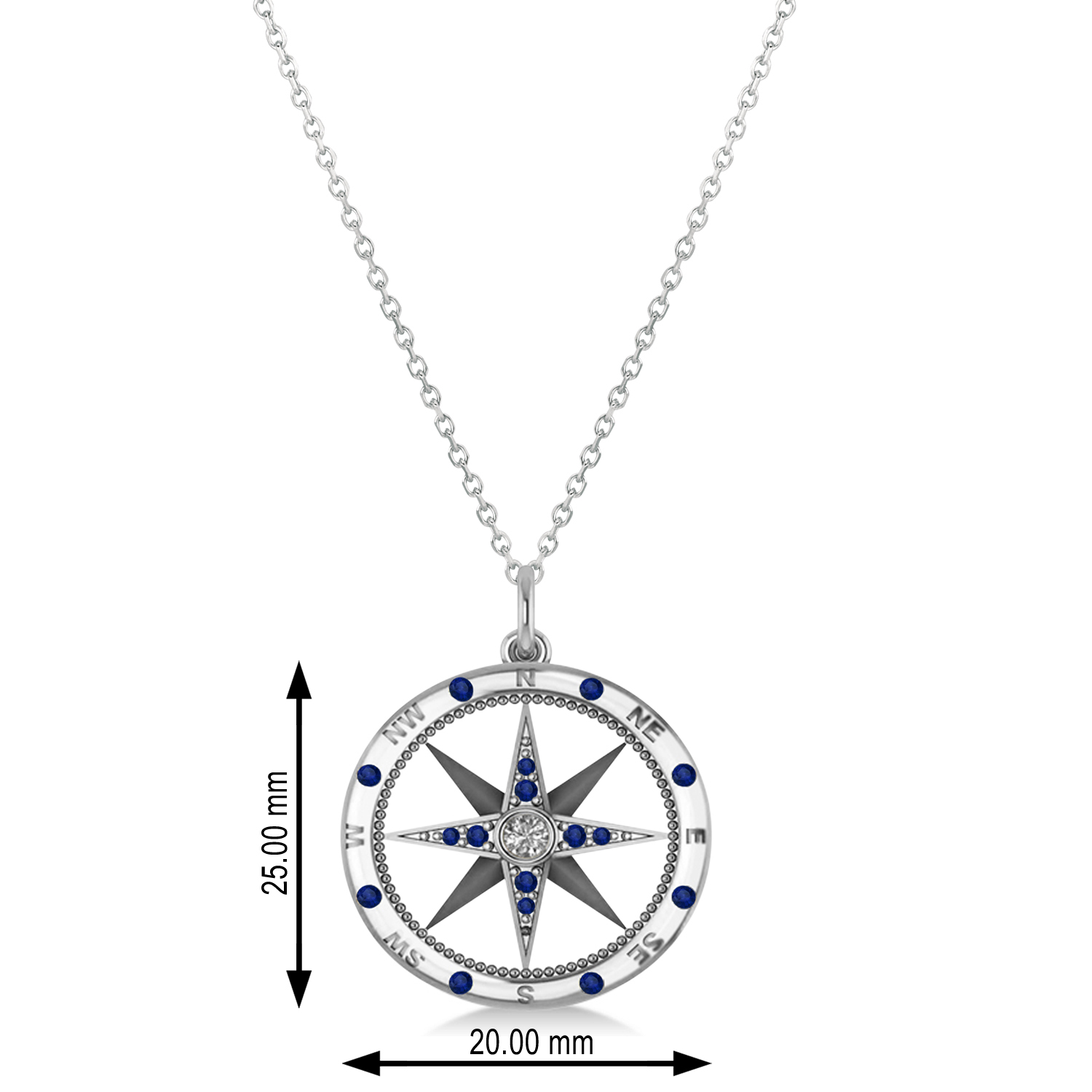 Compass Pendant Blue Sapphire Diamond Accented 14k White Gold 019ct