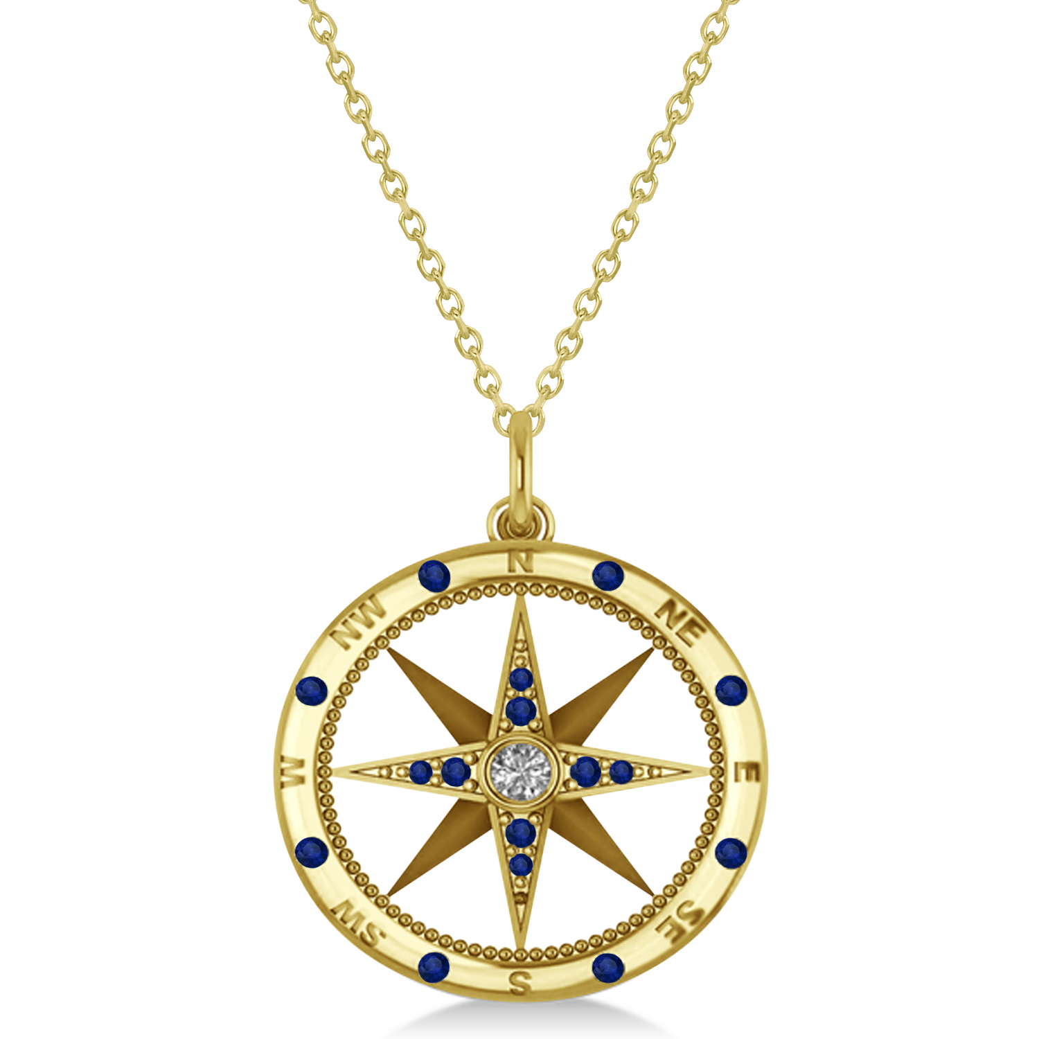 Compass pendant blue sapphire diamond accented 14k for Jh jewelry guarantee 2 years