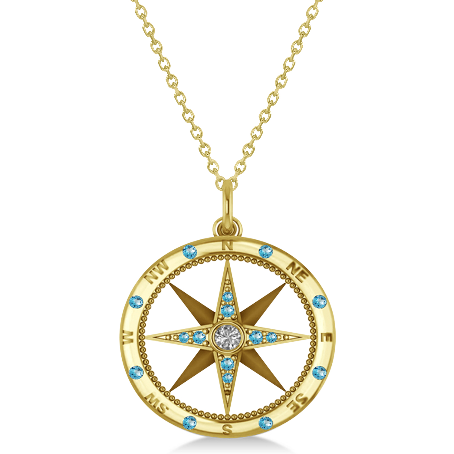 Compass Pendant Blue Topaz & Diamond Accented 14k Yellow Gold (0.19ct)