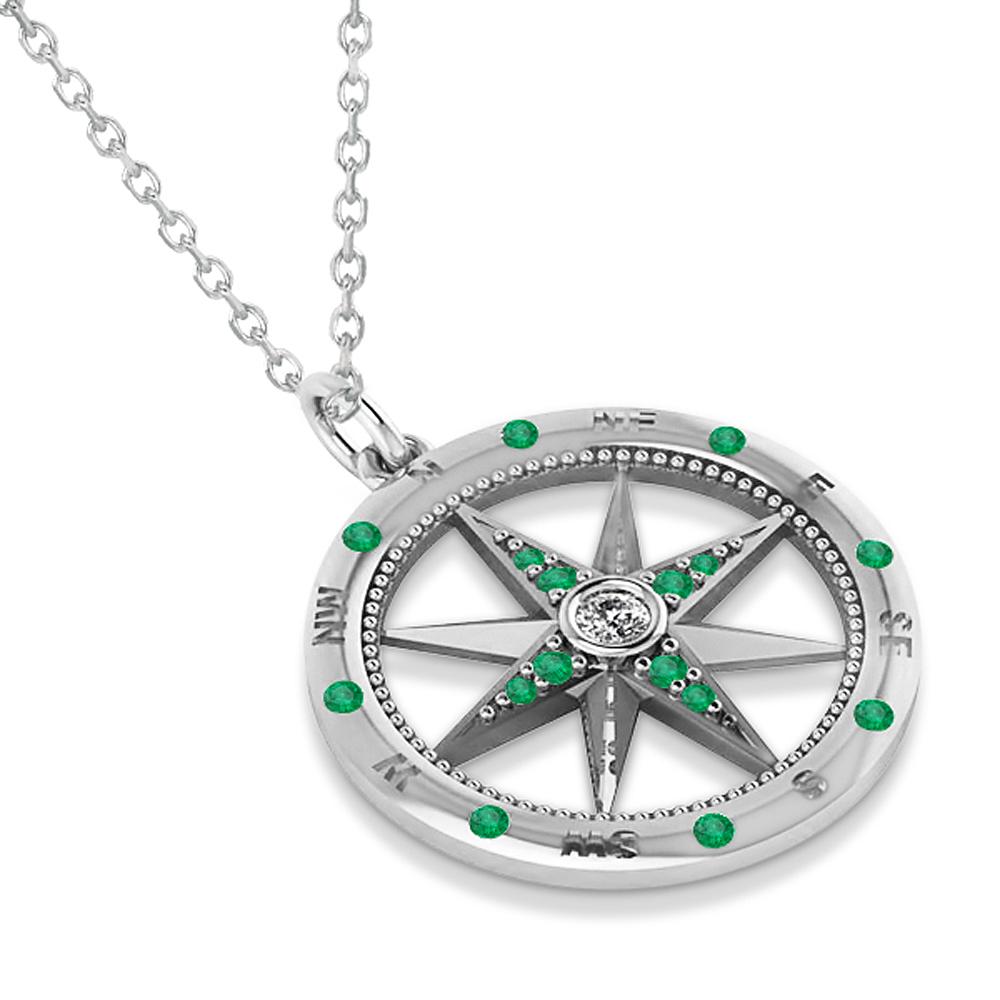 Compass Pendant Emerald & Diamond Accented 14k White Gold (0.19ct)