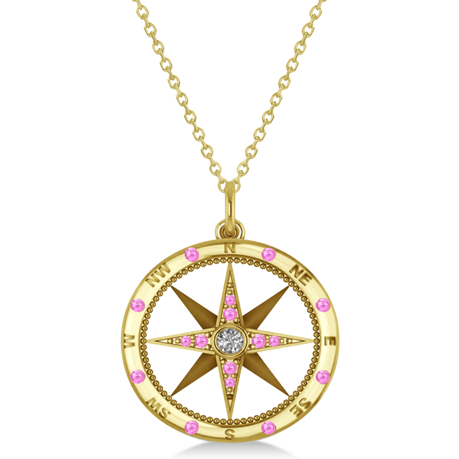 Compass Pendant Pink Sapphire & Diamond Accented 14k Yellow Gold (0.19ct)