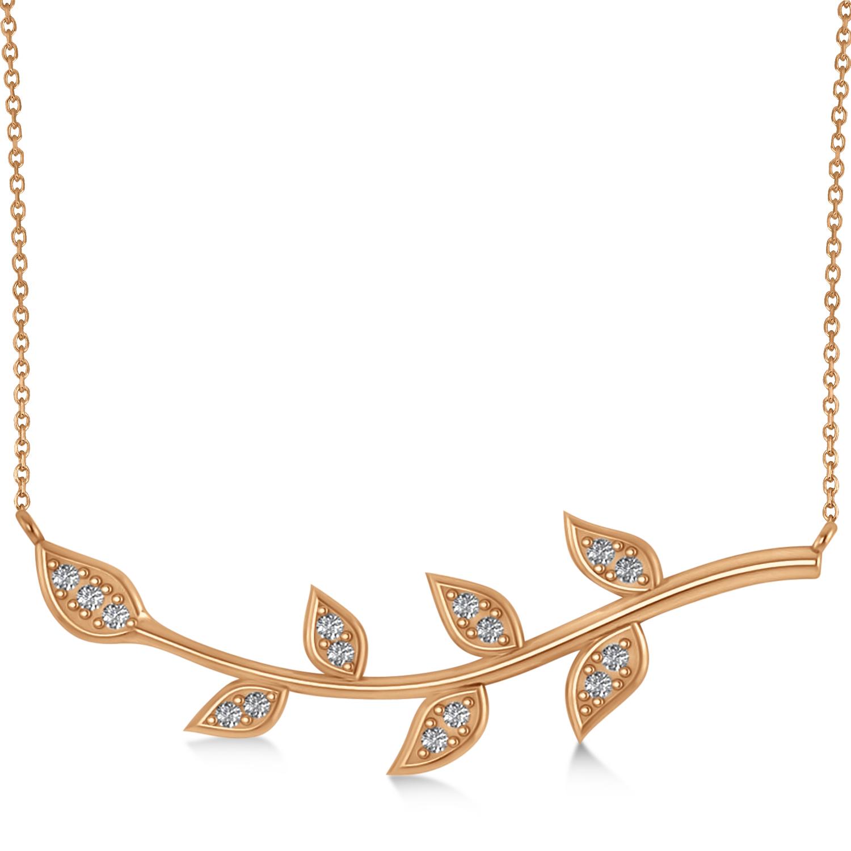 Diamond Olive Vine Leaf Necklace 14k Rose Gold (0.15ct)