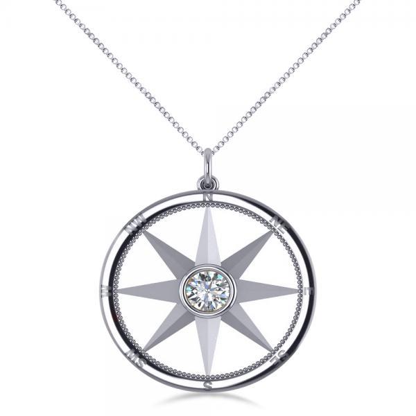 Diamond Nautical Compass Pendant Necklace 14k White Gold (0.66ct)