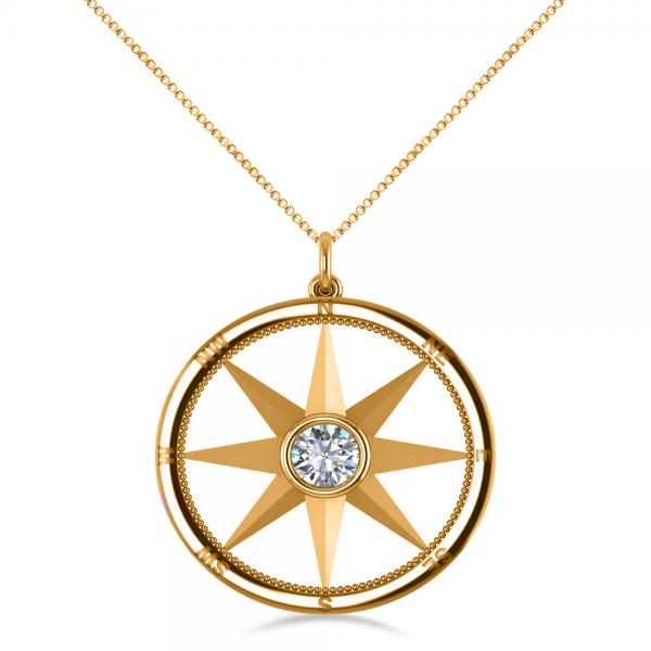 Diamond nautical compass pendant necklace 14k yellow gold for Jh jewelry guarantee 2 years