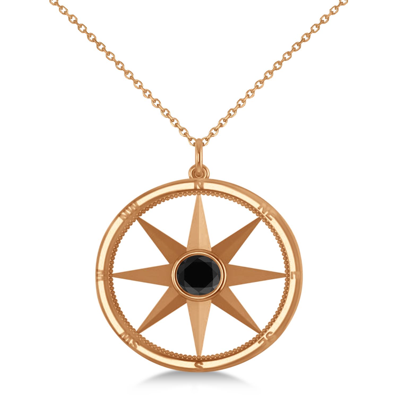 Black Diamond Compass Pendant Fashion Necklace 14k Rose Gold (0.66ct)