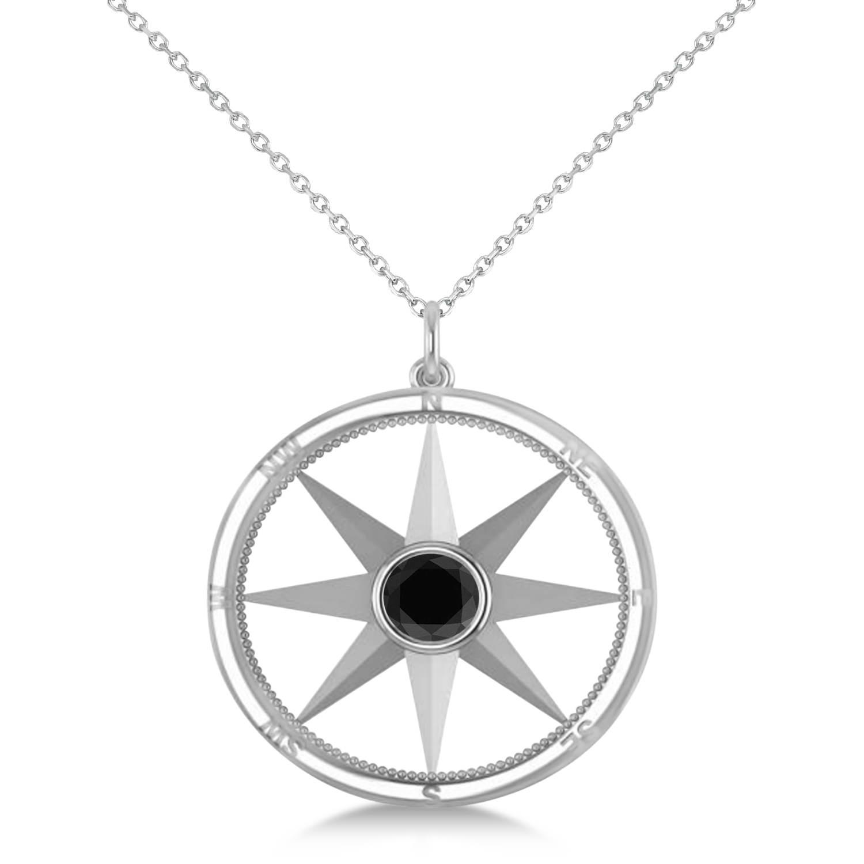 Black Diamond Compass Pendant Fashion Necklace 14k White Gold (0.66ct)
