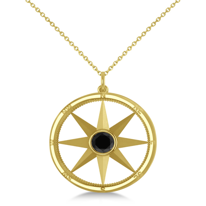 Black Diamond Compass Pendant Fashion Necklace 14k Yellow