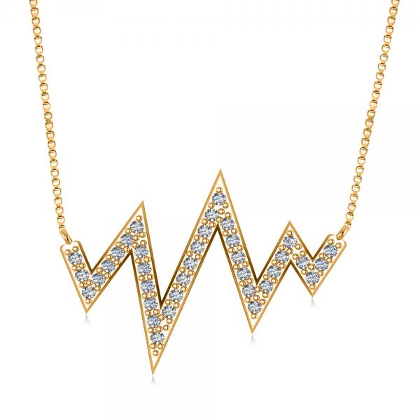 Diamond Heartbeat Vital Sign Pendant Necklace 14k Yellow Gold (0.36ct)