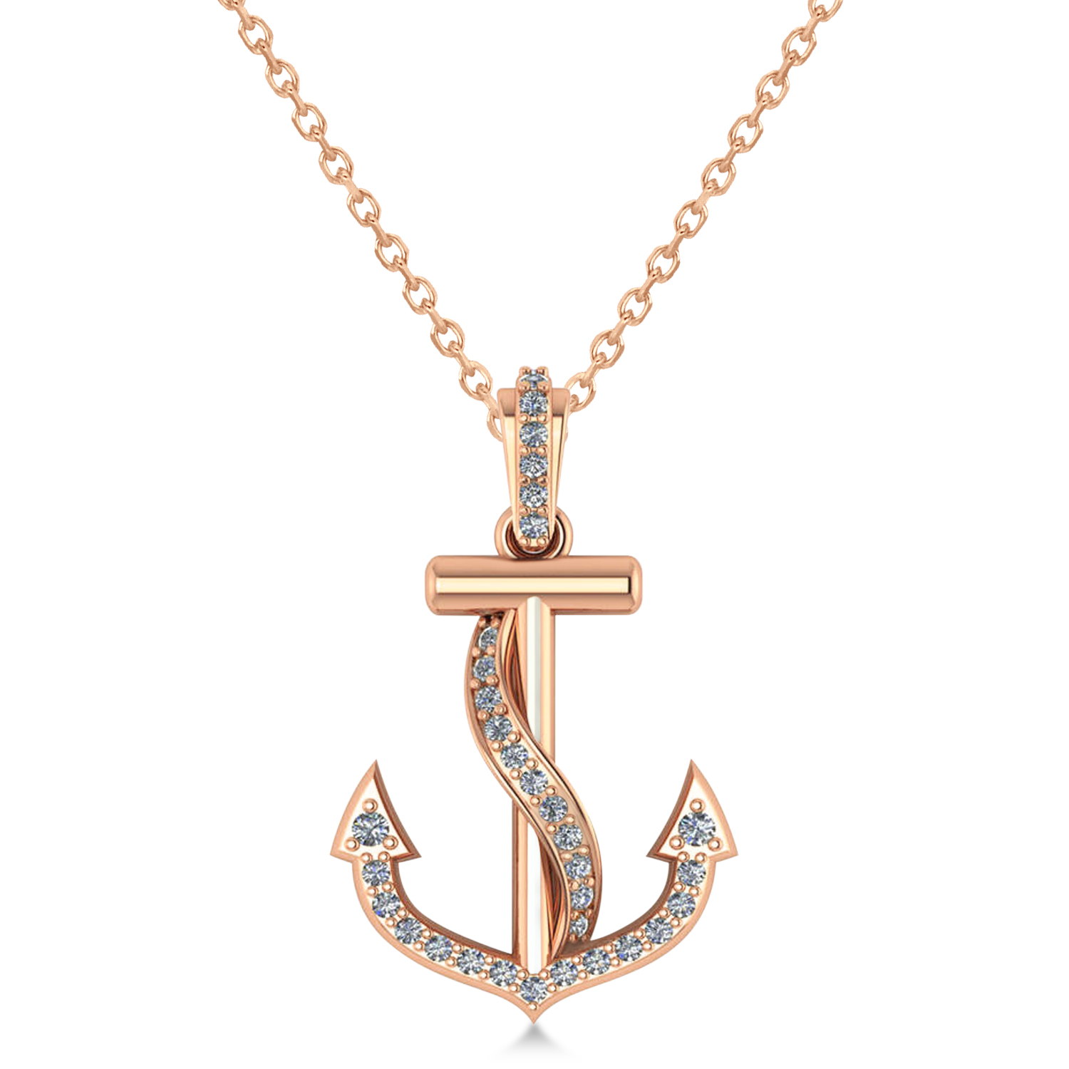 Diamond Ribbon Anchor Pendant Necklace 14k Rose Gold 0