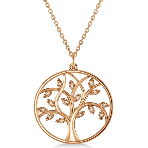 Large Diamond Tree of Life Pendant Necklace 14k Rose Gold (0.15ct)