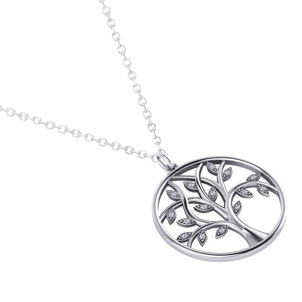 Large Diamond Tree of Life Pendant Necklace 14k White Gold (0.15ct)