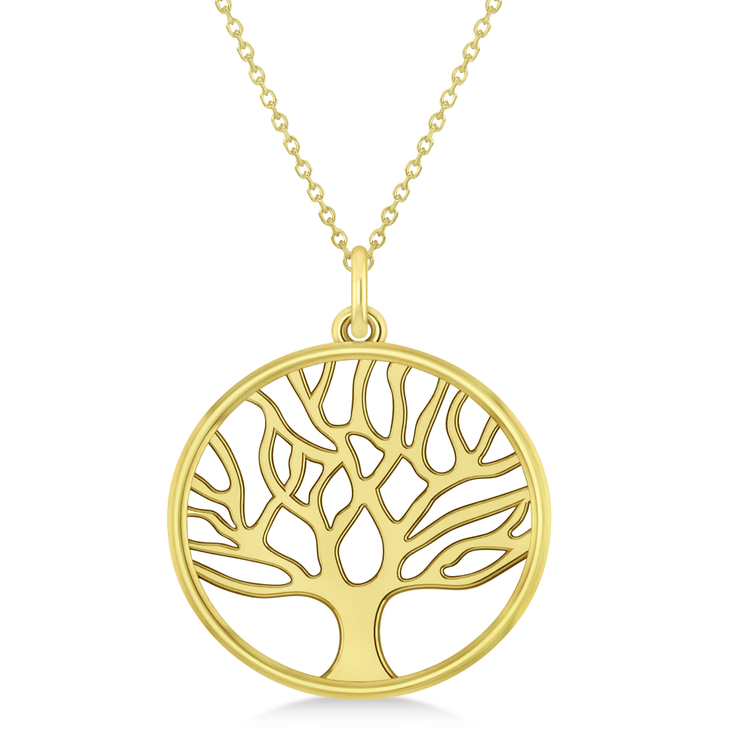 Family Tree of Life Pendant Necklace 14k Yellow Gold - AD2249