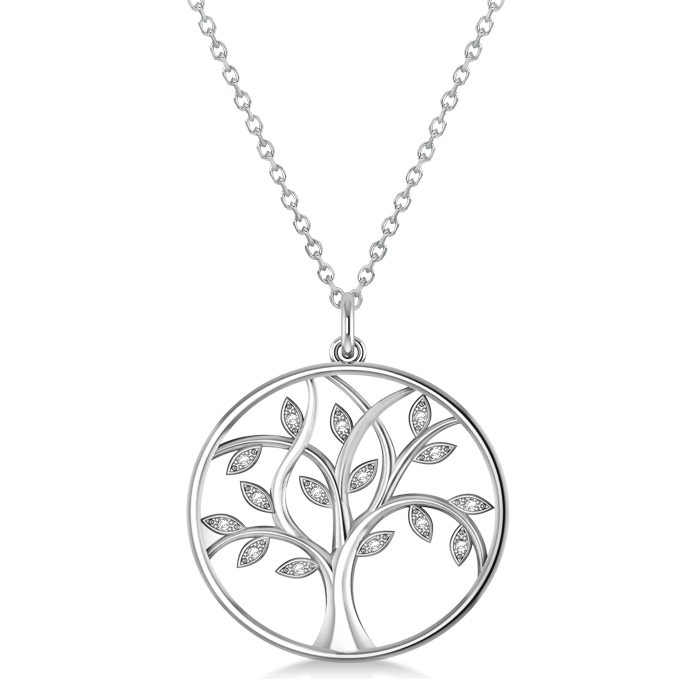Medium diamond tree life pendant necklace 14k white gold 008ct medium diamond tree of life pendant necklace 14k white gold 008ct aloadofball Choice Image