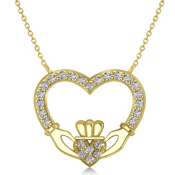 Women's Diamond Irish Claddagh Necklace 14k Yellow Gold (0.25ct)