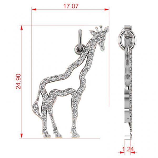 Diamond Giraffe Pendant Necklace 14k White Gold (0.26ct)