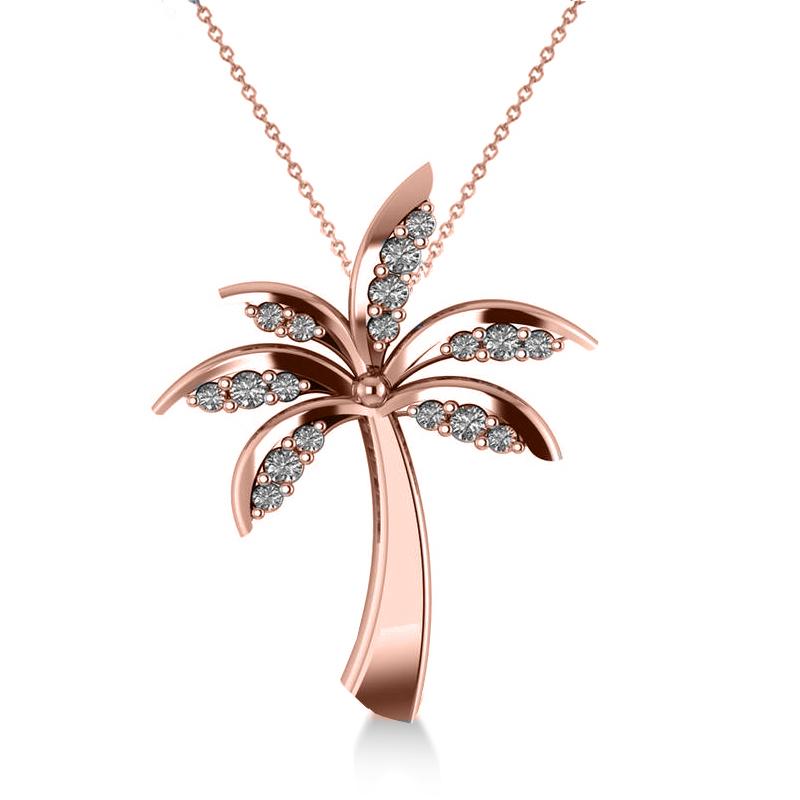 Diamond Summer Palm Tree Pendant Necklace 14k Rose Gold (0.24ct)
